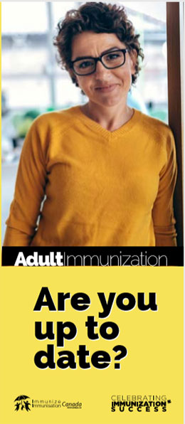 Brochure cover for adult immunizations