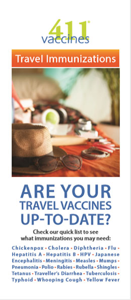 Brochure cover on travel vaccines