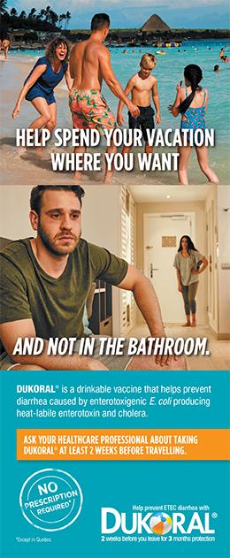 Brochure cover for Dukoral vaccine against Enterotoxigenic E. coli
