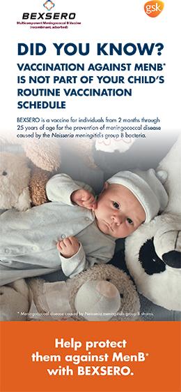 Brochure cover of Bexero vaccine against Meningococcal B