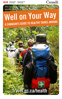 Brochure cover on guide to healthy travel abroad