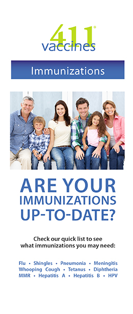 Brochure cover for are your immunizations up to date?