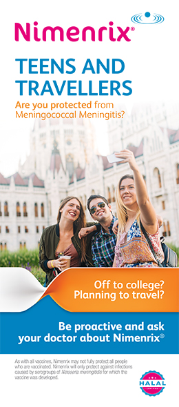 Brochure cover for Nimenrix vaccine against mningococcal meningitis