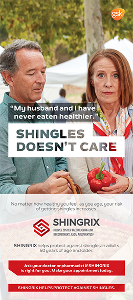 Brochure cover for Shingrix vaccine against shingles