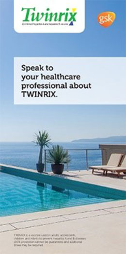 Brochure cover for Twinrix vaccine against Hepatitis A & B